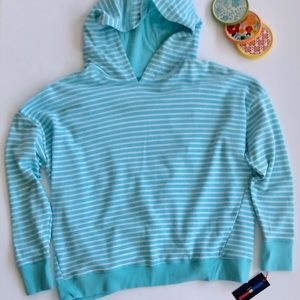 HILFIGER Aqua Stripe Sport French Terry Hoodie M